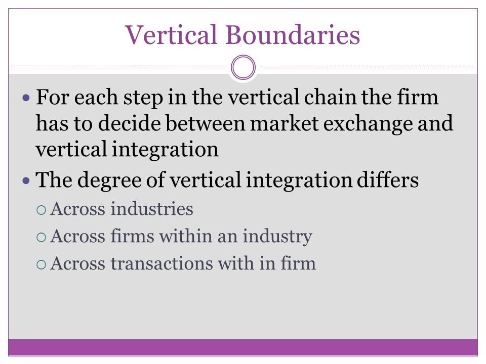 vertical boundaries Firm boundaries and performance • firm boundaries are an important variable for influencing firm performance • horizontal boundaries (besanko ch 2): – variety of products and services produced • vertical boundaries (besanko ch 3): – degree to which co makes or buys raw.