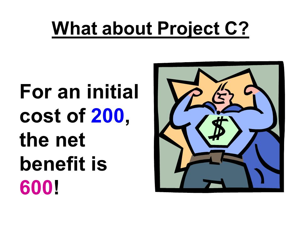 What about Project C For an initial cost of 200, the net benefit is 600!