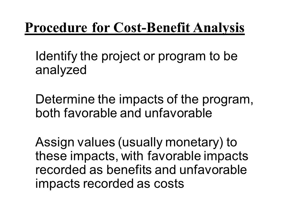 Procedure for Cost-Benefit Analysis