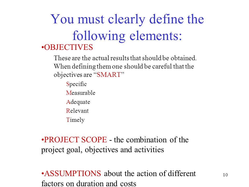 You must clearly define the following elements: