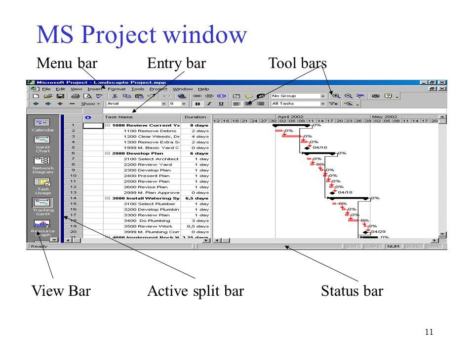MS Project window Menu bar Entry bar Tool bars View Bar