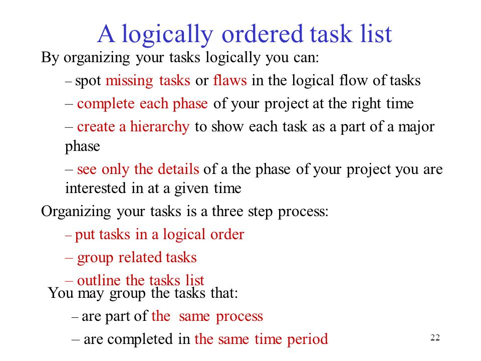 A logically ordered task list