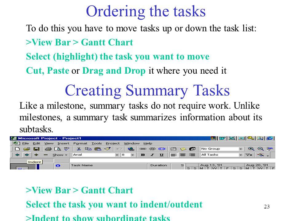 Creating Summary Tasks