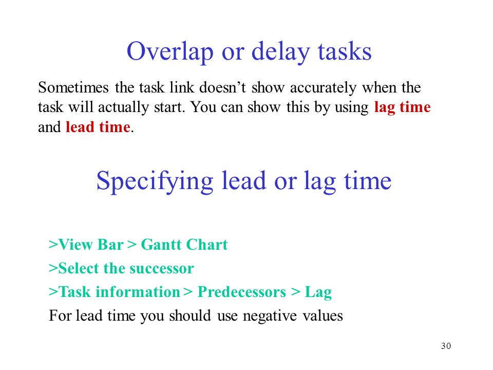 Specifying lead or lag time