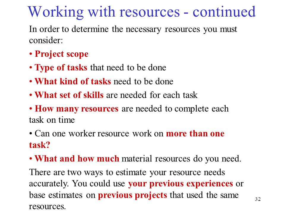 Working with resources - continued