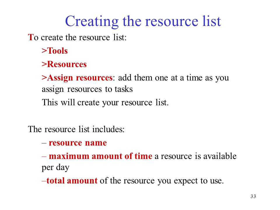 Creating the resource list