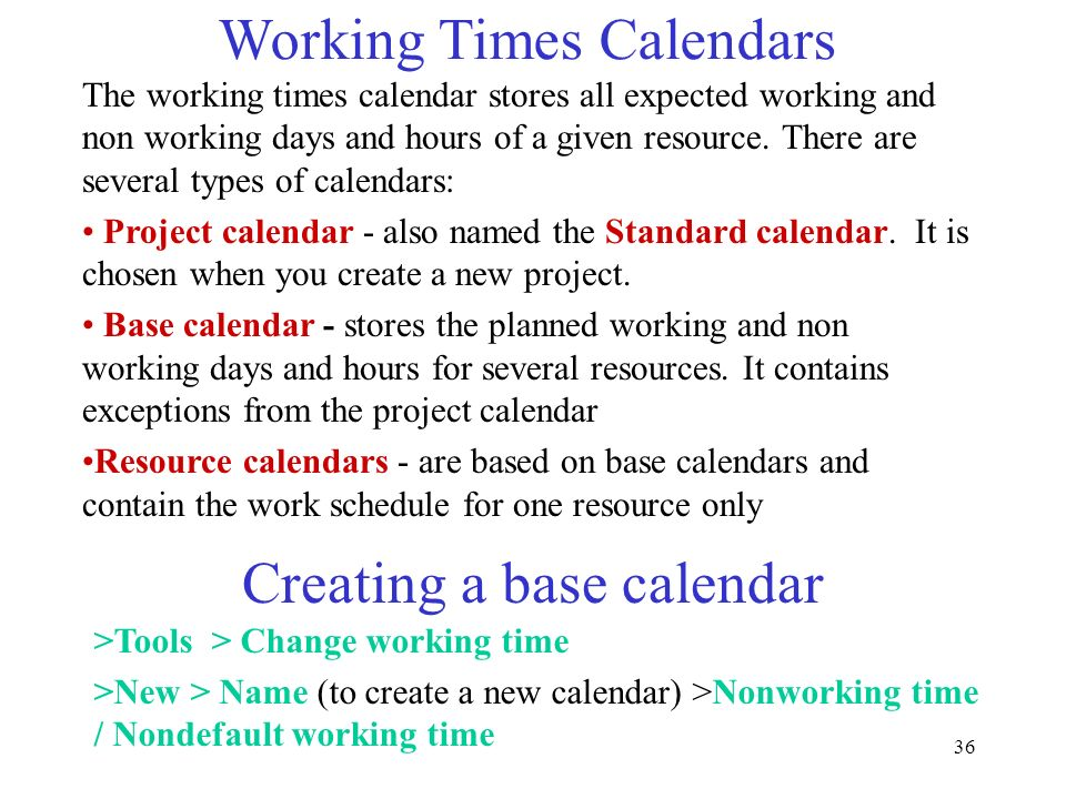 Working Times Calendars