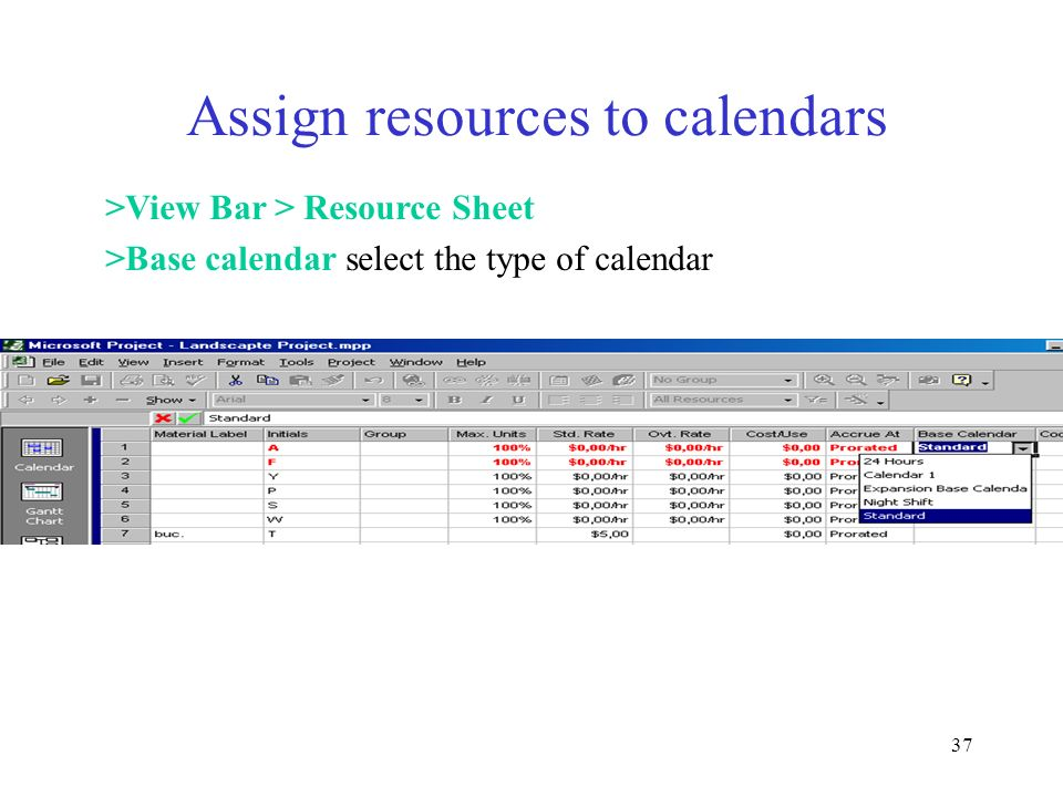 Assign resources to calendars