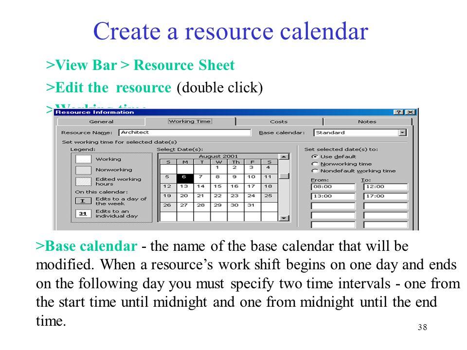 Create a resource calendar