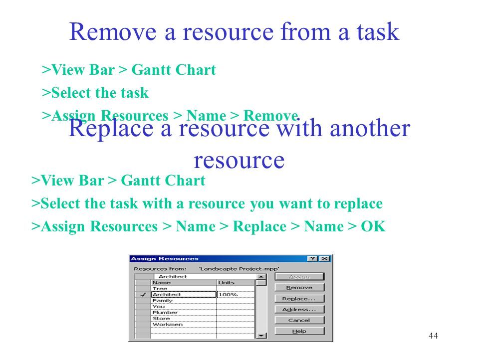 Remove a resource from a task