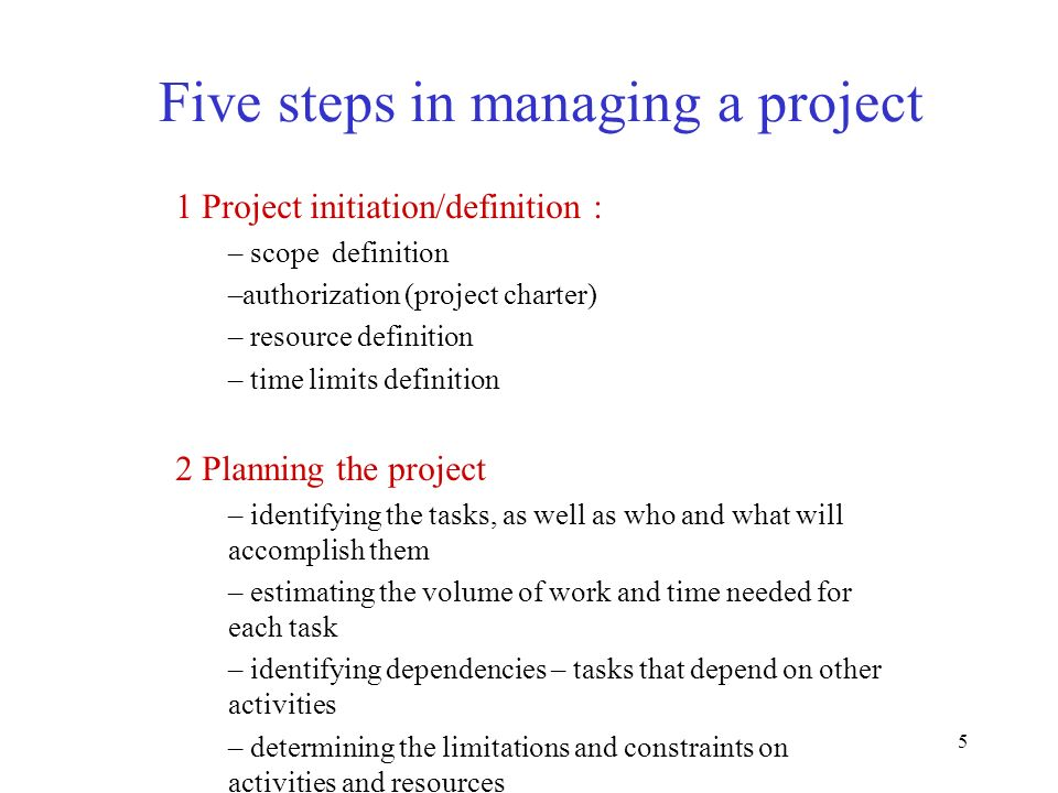 Five steps in managing a project