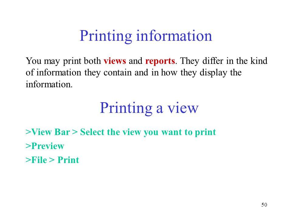 Printing information Printing a view