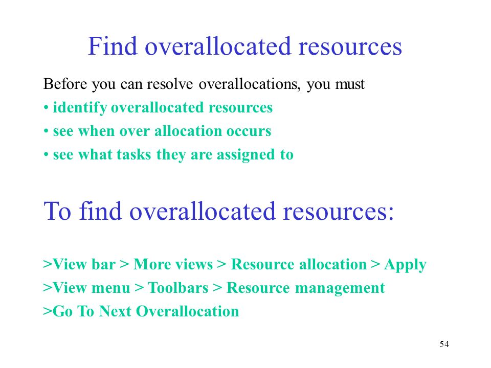 Find overallocated resources