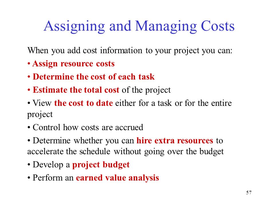 Assigning and Managing Costs