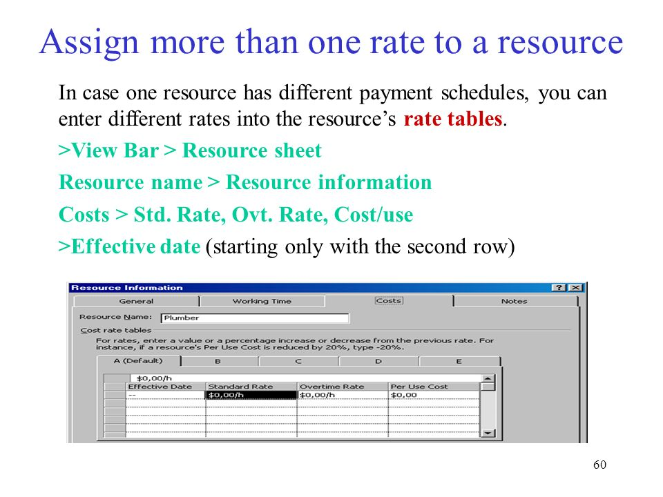 Assign more than one rate to a resource