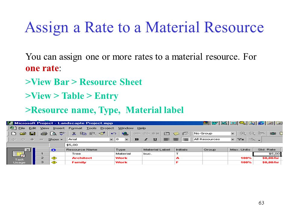 Assign a Rate to a Material Resource