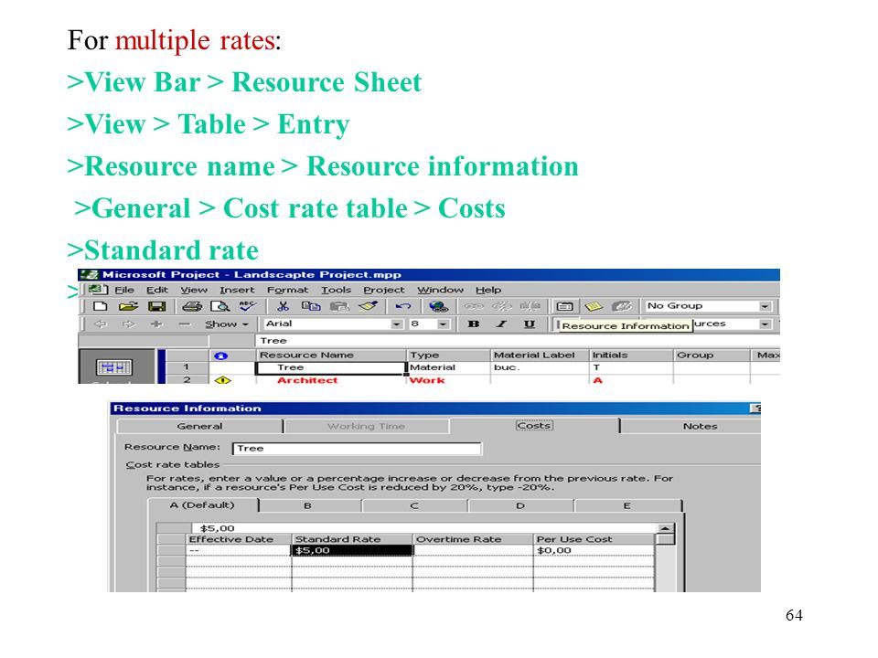 For multiple rates: >View Bar > Resource Sheet. >View > Table > Entry. >Resource name > Resource information.