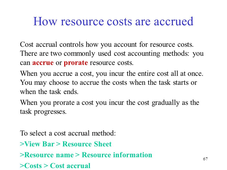 How resource costs are accrued
