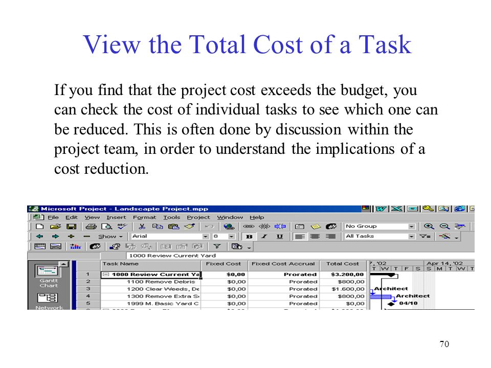 View the Total Cost of a Task