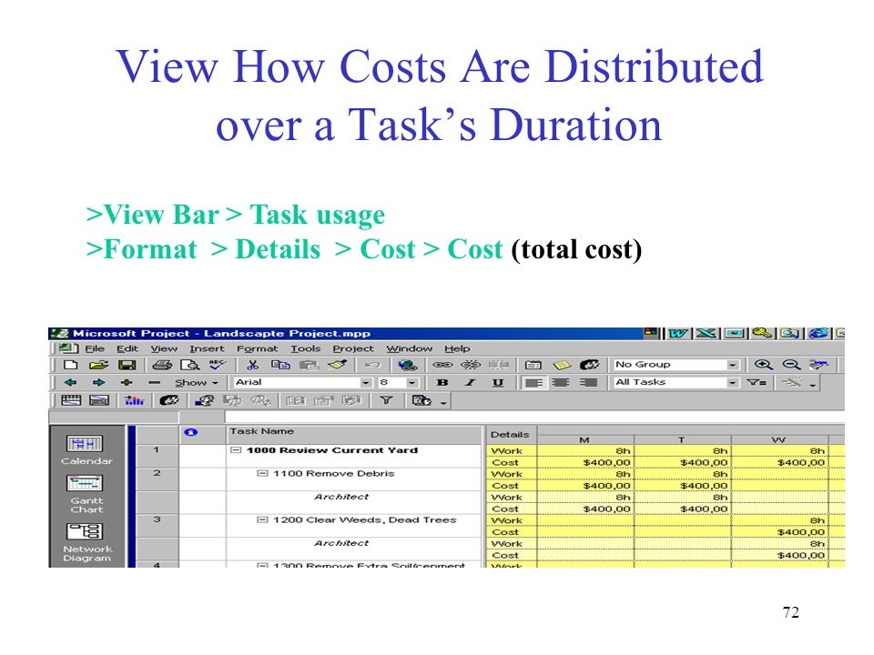 View How Costs Are Distributed over a Task's Duration