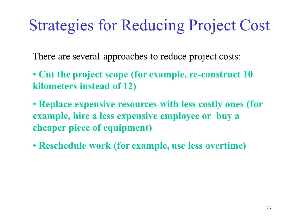 Strategies for Reducing Project Cost