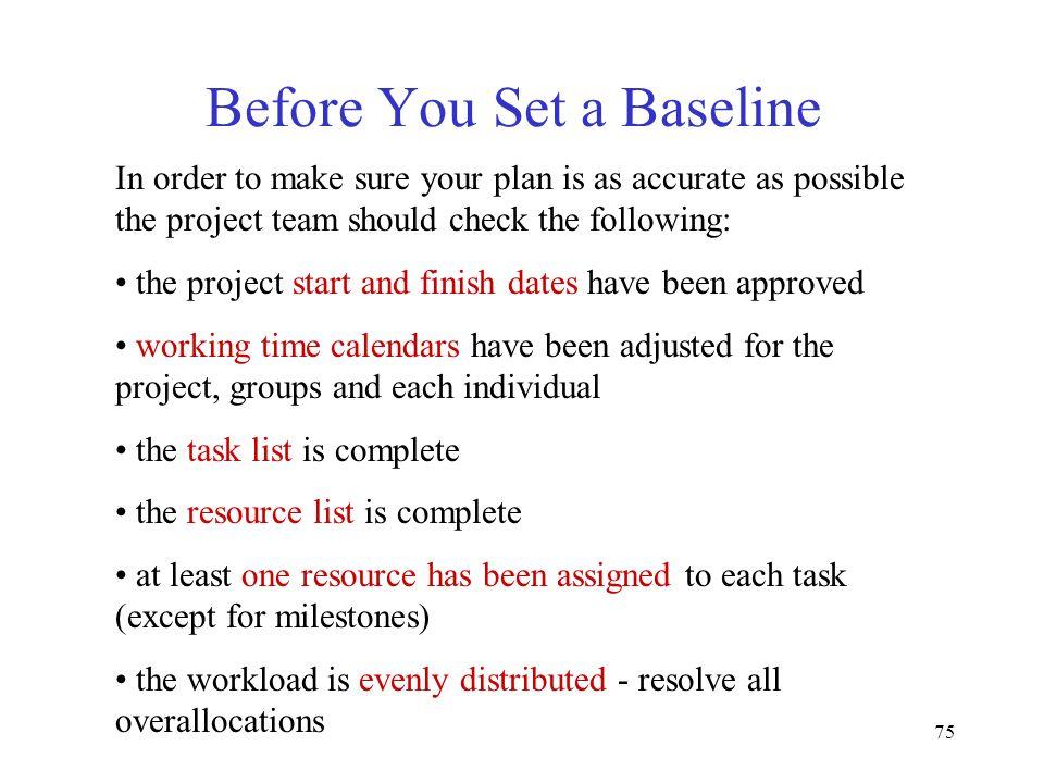 Before You Set a Baseline