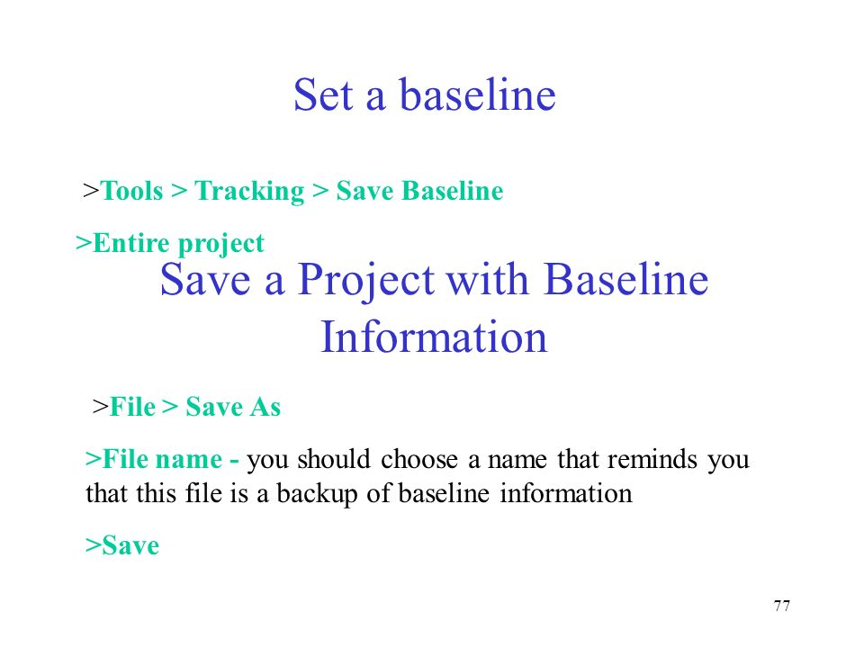 Save a Project with Baseline Information