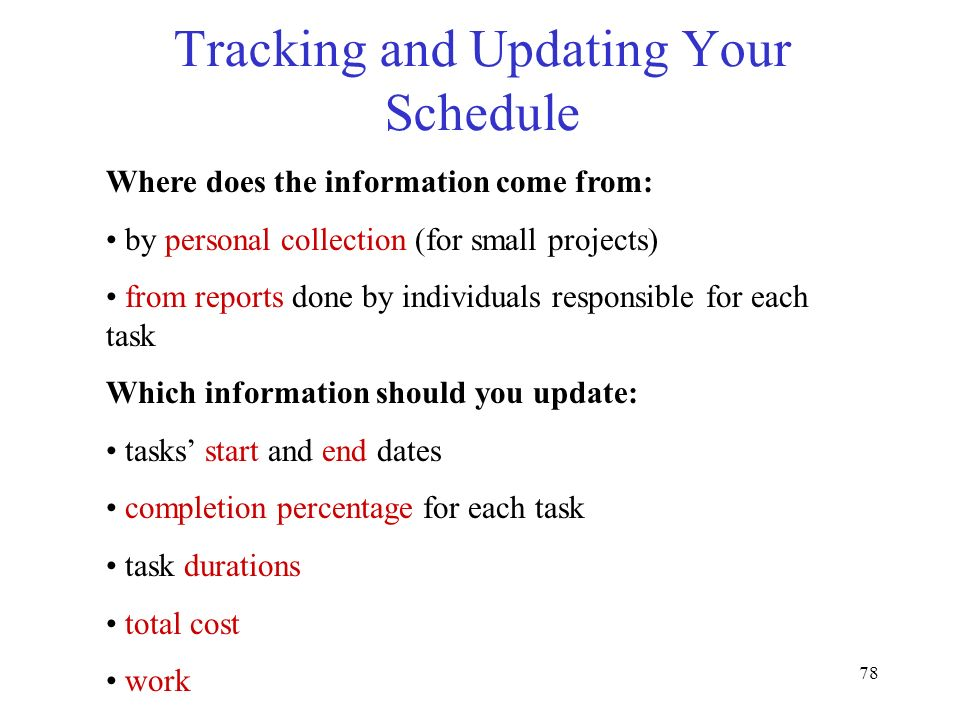 Tracking and Updating Your Schedule