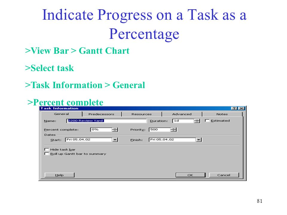 Indicate Progress on a Task as a Percentage
