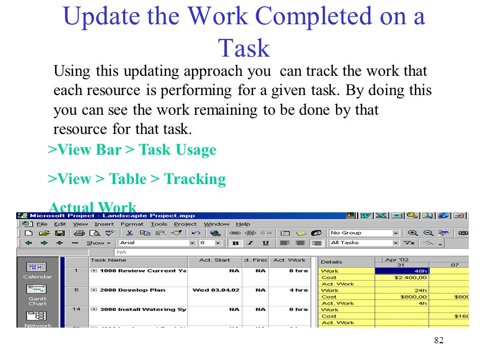 Update the Work Completed on a Task