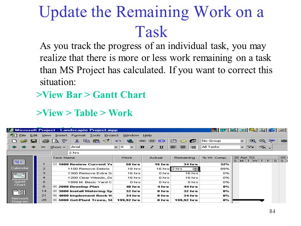 Update the Remaining Work on a Task
