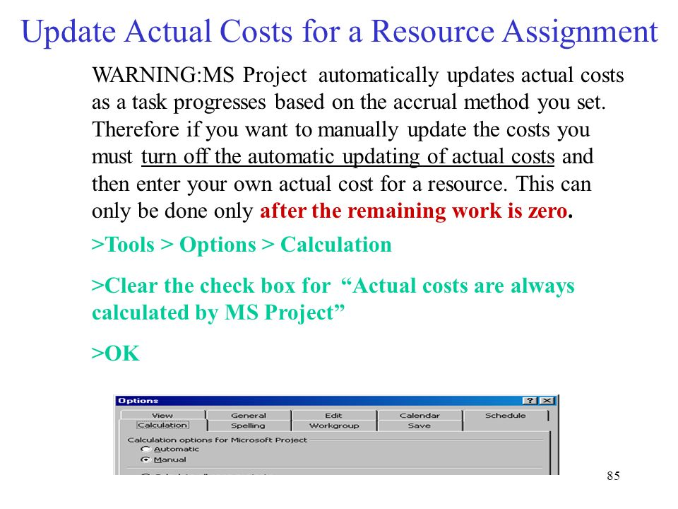 Update Actual Costs for a Resource Assignment
