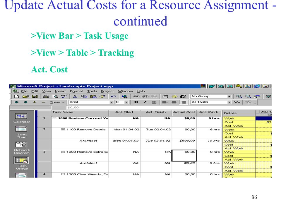 Update Actual Costs for a Resource Assignment - continued