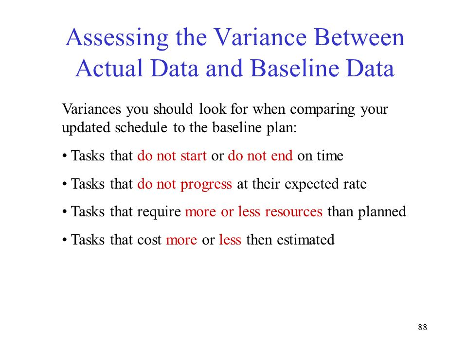 Assessing the Variance Between Actual Data and Baseline Data