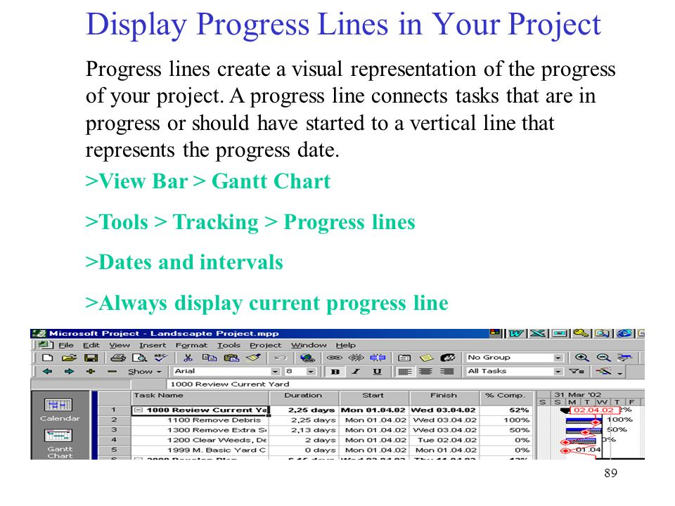 Display Progress Lines in Your Project
