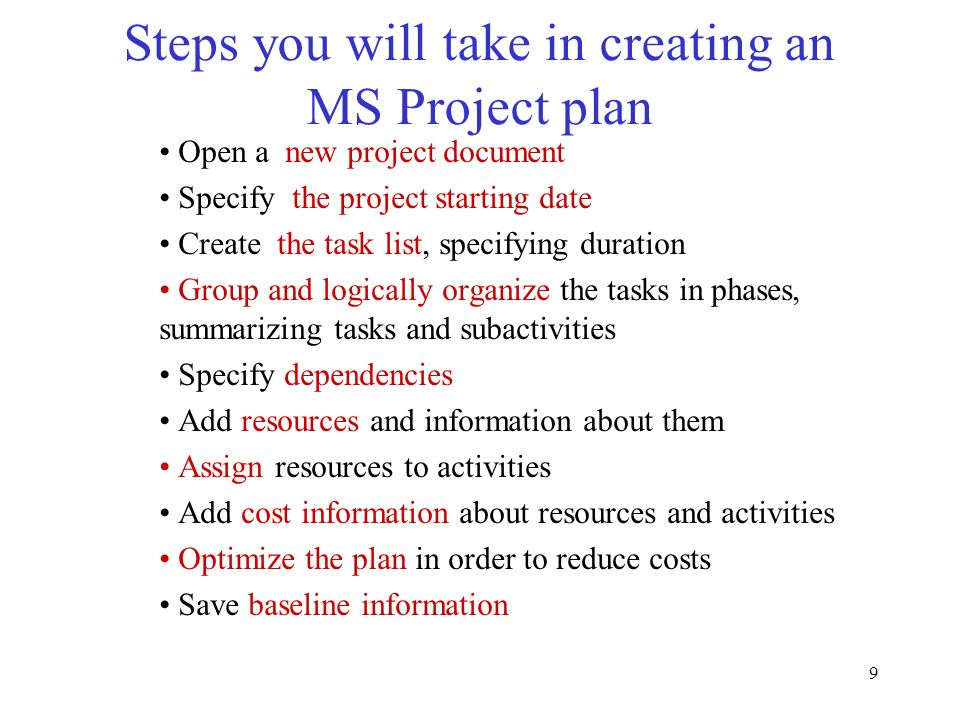 Steps you will take in creating an MS Project plan