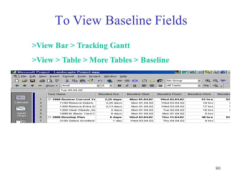 To View Baseline Fields