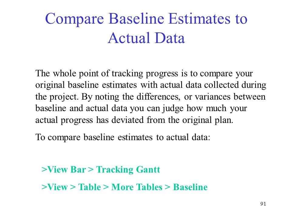 Compare Baseline Estimates to Actual Data