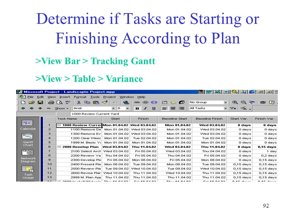 Determine if Tasks are Starting or Finishing According to Plan