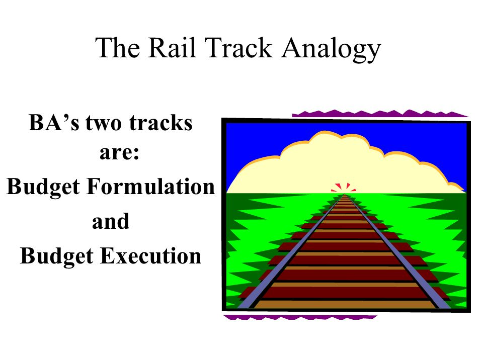 The Rail Track Analogy BA's two tracks are: Budget Formulation and