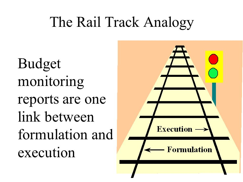 The Rail Track Analogy Budget monitoring reports are one link between formulation and execution