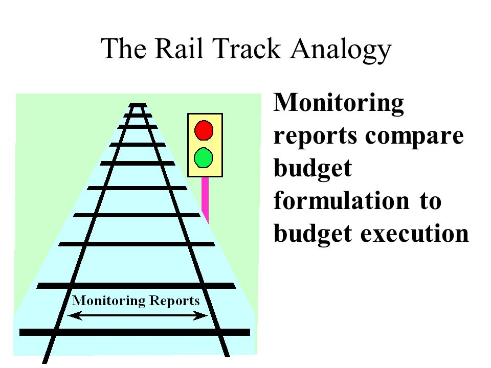 The Rail Track Analogy Monitoring reports compare budget formulation to budget execution