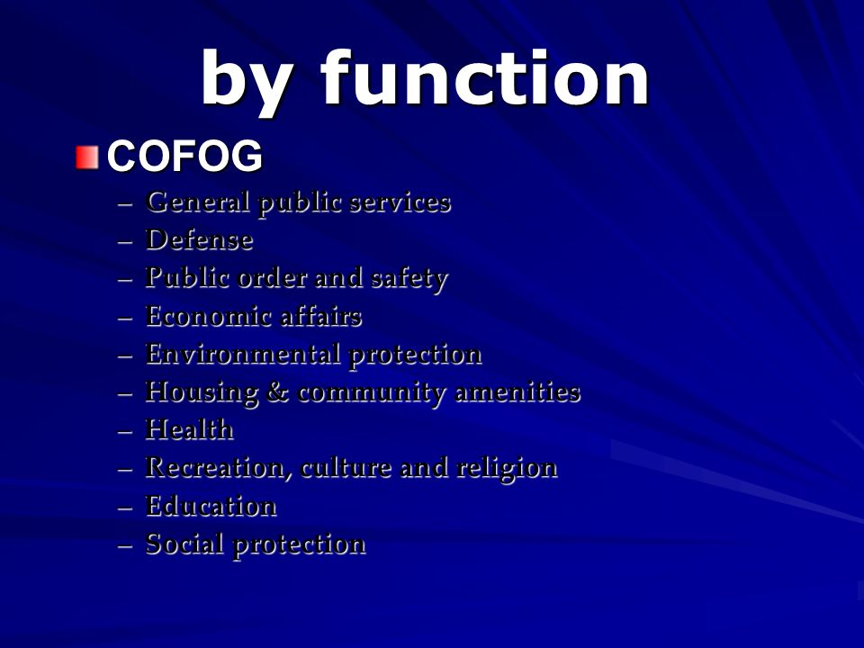 by function COFOG General public services Defense