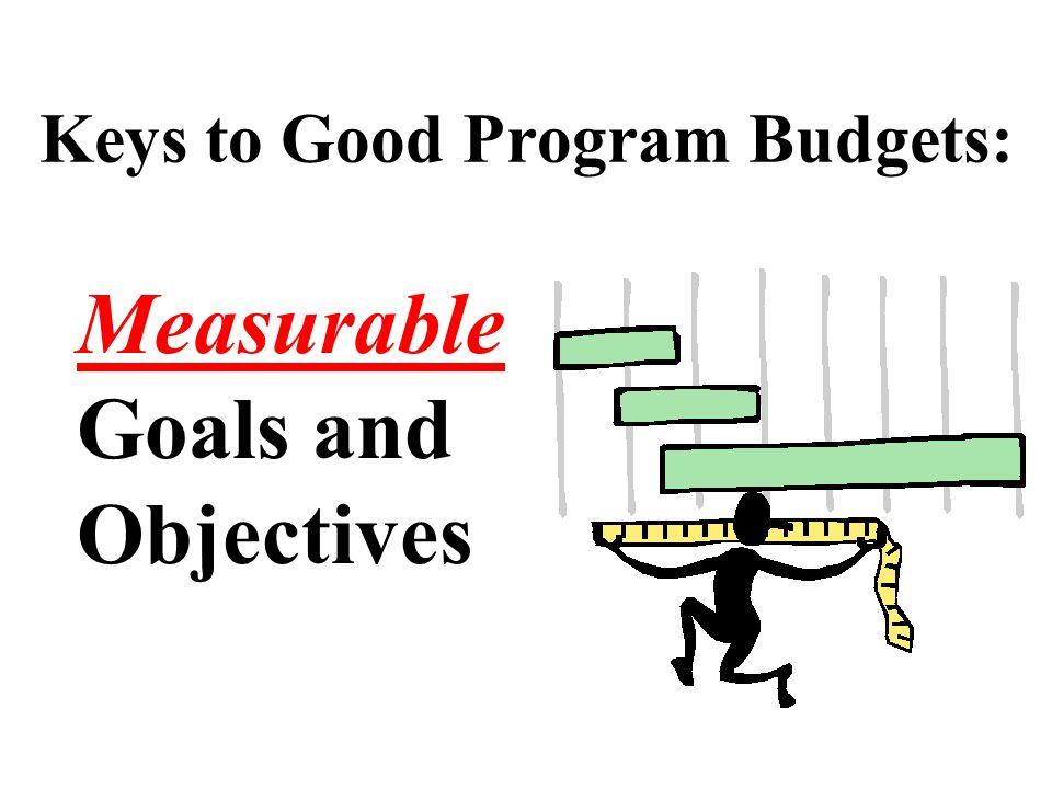 Keys to Good Program Budgets: