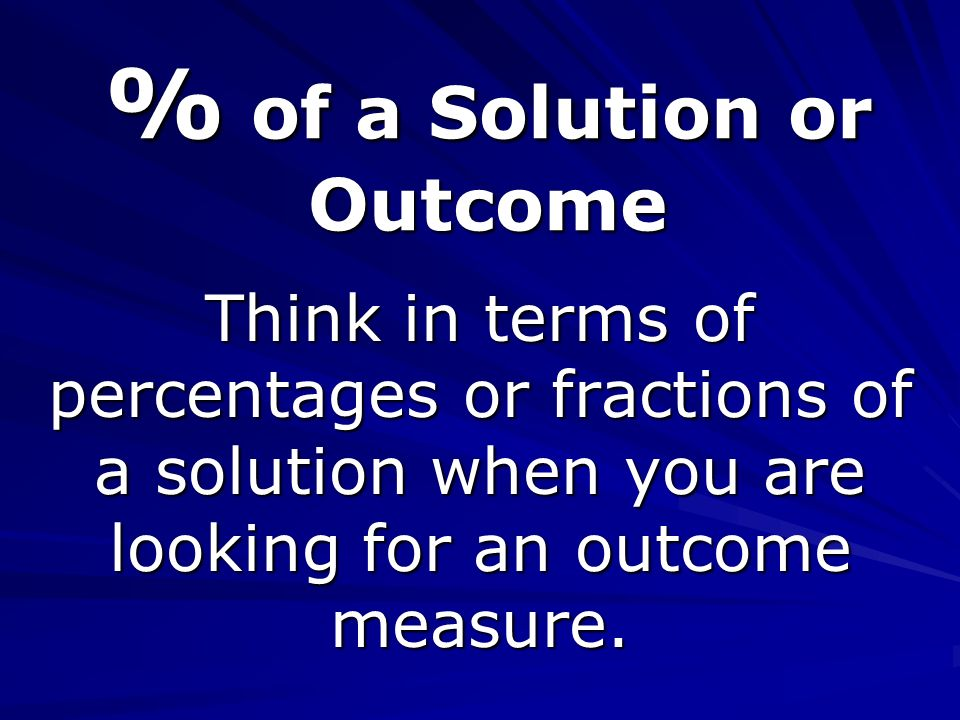 % of a Solution or Outcome