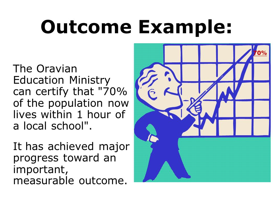 Outcome Example: 70% The Oravian Education Ministry can certify that 70% of the population now lives within 1 hour of a local school .