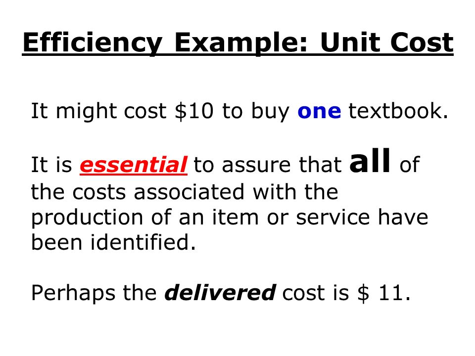 Efficiency Example: Unit Cost