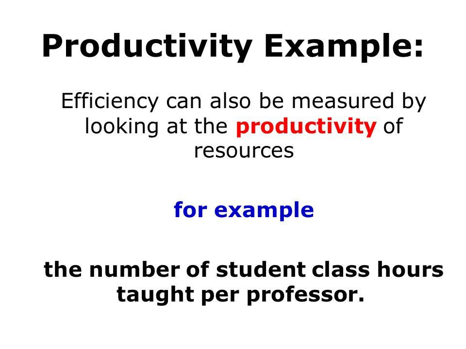 Productivity Example: