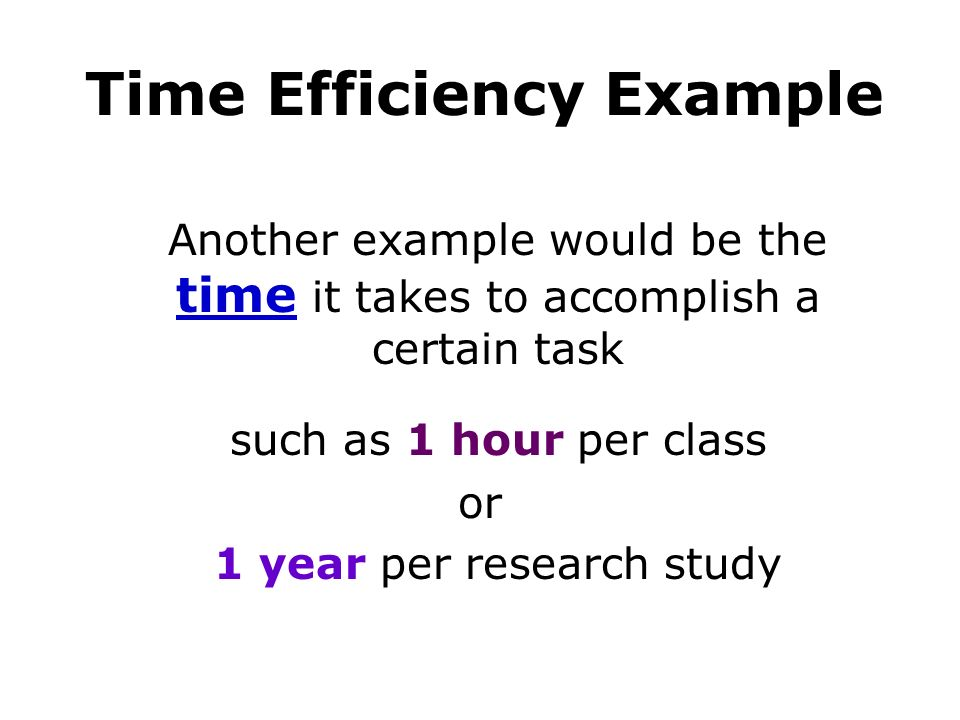 Time Efficiency Example