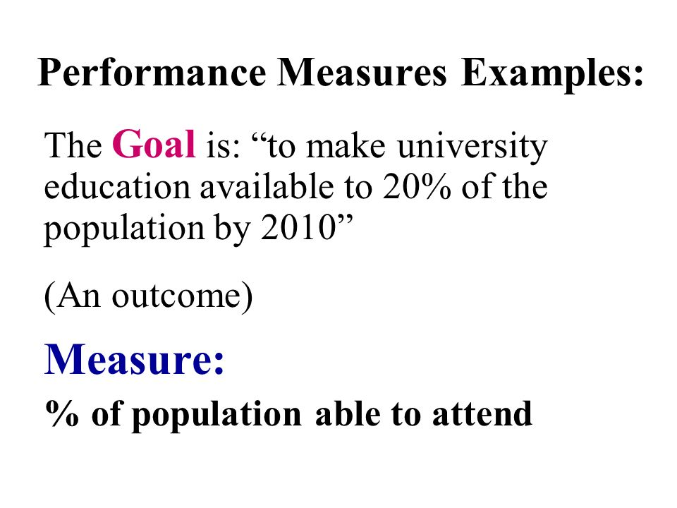 Performance Measures Examples: